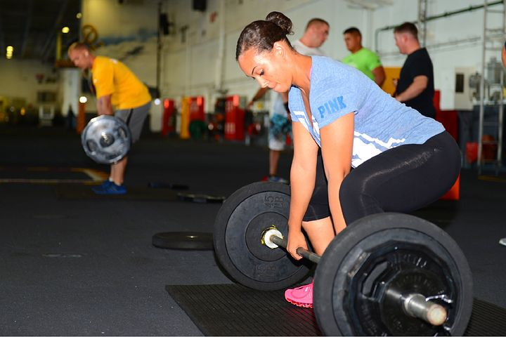 Barbell with people